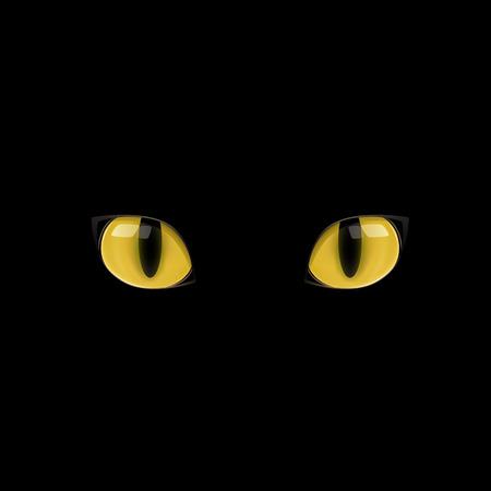 Ilustración de The yellow cat eyes on the black background - Imagen libre de derechos