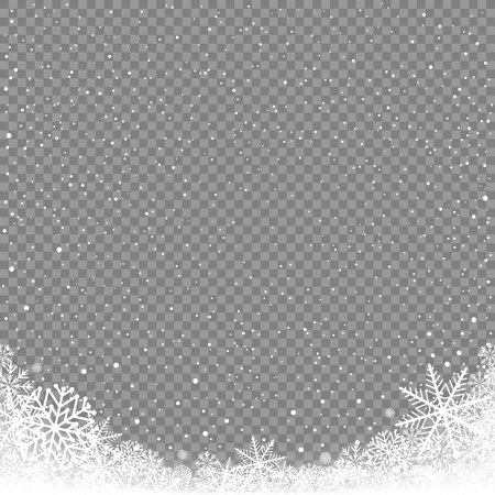 Illustration pour Winter snowfall on transparent background. Frosty close-up wintry snowflakes. Ice shape pattern. Christmas holiday decoration backdrop - image libre de droit