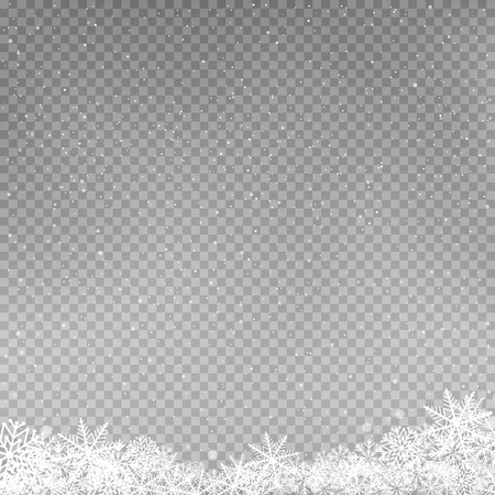 Illustration pour Snowflakes falling template. Winter snowfall on gray background. Frosty close-up wintry snowflake. Ice shape snowdrift. Christmas holiday decoration backdrop - image libre de droit