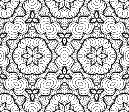 Illustration pour Vector Black White Seamless Wallpaper. Vintage Pattern. Retro Background - image libre de droit