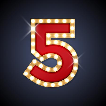 Illustration pour illustration of realistic retro signboard number 5 five. - image libre de droit