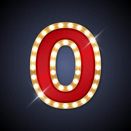 Illustration pour illustration of realistic retro signboard number 0 zero. - image libre de droit