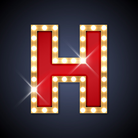 Illustration pour illustration of realistic retro signboard letter H.  - image libre de droit