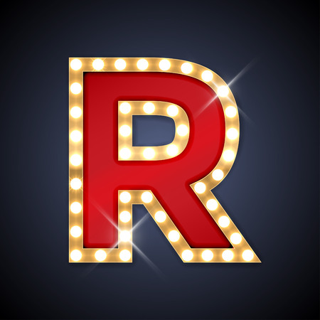 Illustration for illustration of realistic retro signboard letter R. - Royalty Free Image