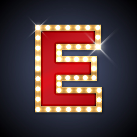 Illustration for illustration of realistic retro signboard letter E. - Royalty Free Image