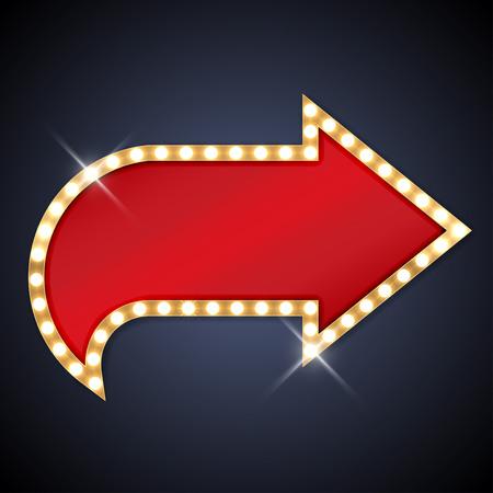 Illustration pour Retro light bulb arrow with space for text - image libre de droit