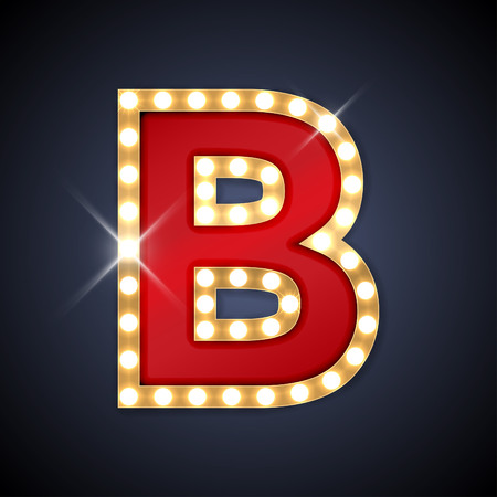 Illustration pour illustration of realistic retro signboard letter B. - image libre de droit