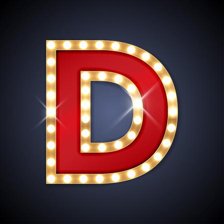 Illustration pour illustration of realistic retro signboard letter D. - image libre de droit