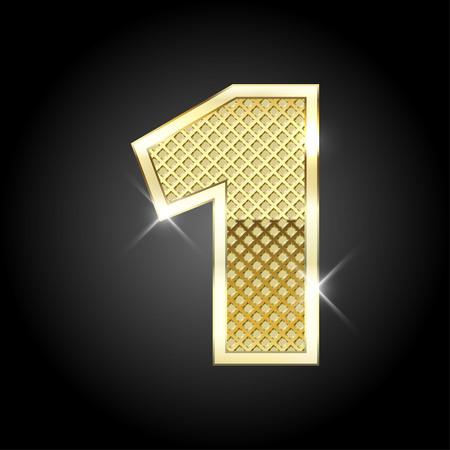 Ilustración de metal gold letter of number - Imagen libre de derechos