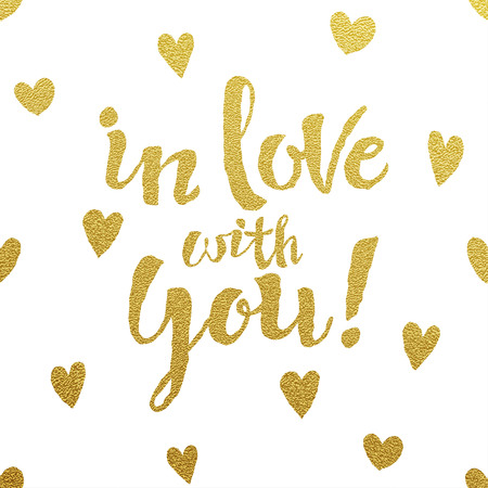 Illustration pour In Love With You card with design of gold letters on white background - image libre de droit