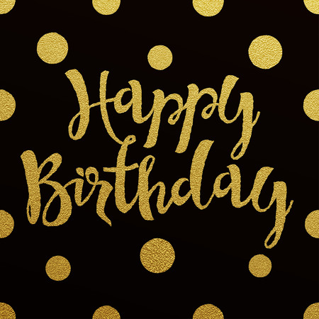 Illustration for Happy Birthday card with design of gold letters on black background - Royalty Free Image