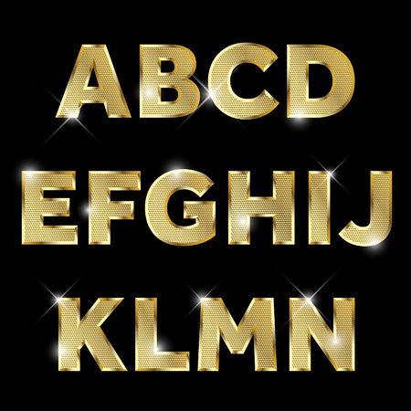 Illustration for Gold glittering metal alphabet set from A to N uppercase. - Royalty Free Image