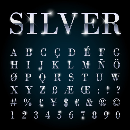 Illustration for Silver metal font set with letters, numbers, currency sings and special alphabet symbols - Royalty Free Image
