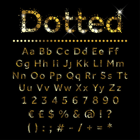 Illustration for Gold dotted glittering metal alphabet set. Vector gold font with additional currency, numbers and special symbols and signs. - Royalty Free Image