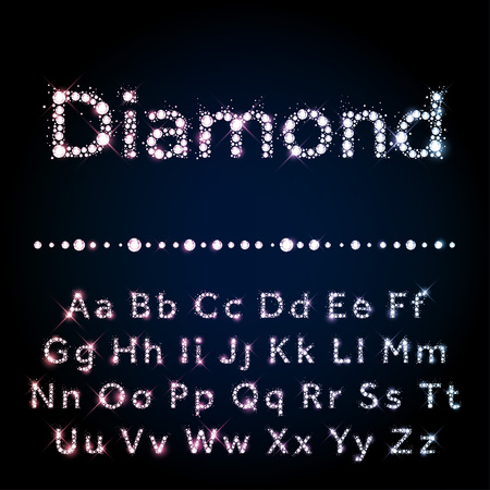 Illustration for Shiny diamond vector font set A to Z uppercase and lowercase - Royalty Free Image