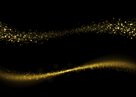 Photo pour Glittering gold dust tail. Twinkling glitter. Abstract glittering wave - image libre de droit