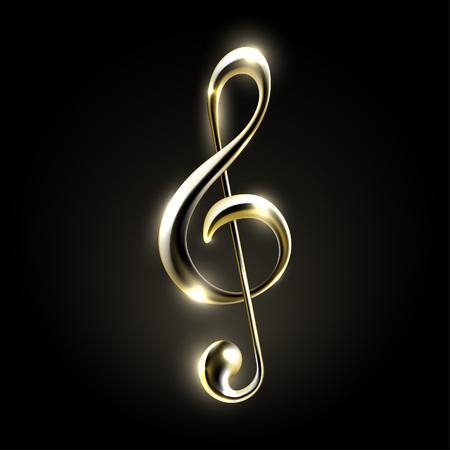 Illustration pour Golden metallic music note sign. Music icon - image libre de droit