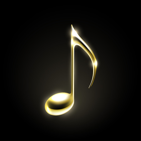 Illustration for Golden metallic music note sign. Music icon - Royalty Free Image