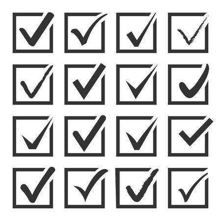 Illustration pour Vector set of black confirm check box icons for web - image libre de droit