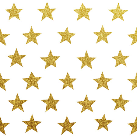 Illustration for Gold glittering stars seamles pattern on white background - Royalty Free Image