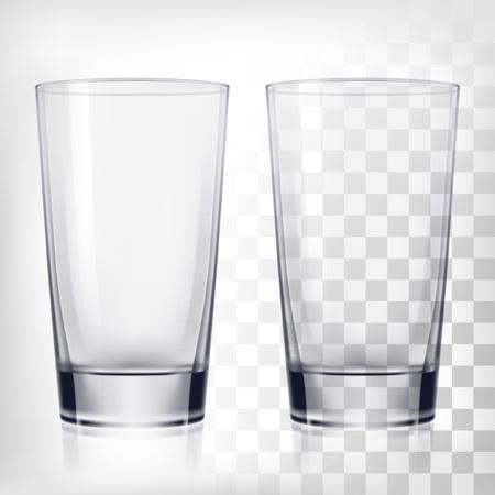 Illustration pour Empty drinking glass cups. Transparent glass on transparent background - image libre de droit