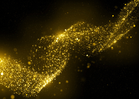 Photo for Glittering star dust bokeh on black background - Royalty Free Image