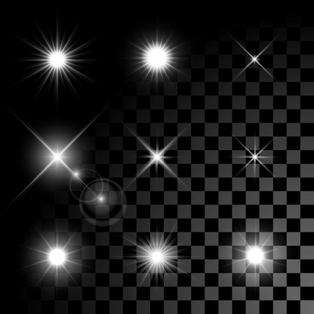 Ilustración de Set of Vector glowing light effect stars bursts with sparkles on transparent background. Transparent stars. - Imagen libre de derechos