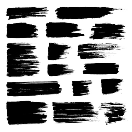 Illustration pour Set of vector brush strokes. Black brush hand painting on white background. - image libre de droit