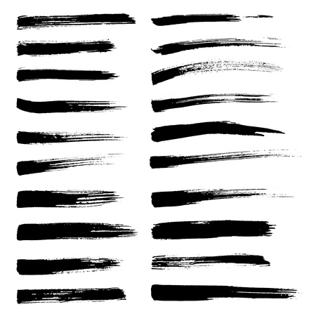 Illustration for Set of vector brush strokes. Black brush hand painting on white background. - Royalty Free Image