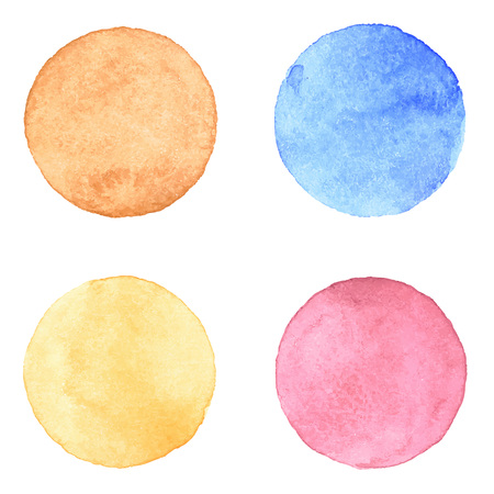 Illustration pour Watercolour handpainted textured circles collection on white paper background. Orange, brown, pink, blue - image libre de droit