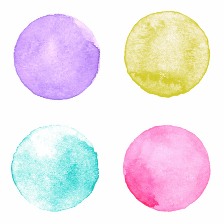 Illustration pour Watercolour handpainted textured circles collection on white paper background. Violet, yellow, aquamarine, pink - image libre de droit