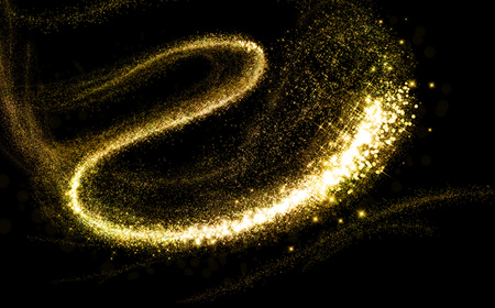 Photo for Glittering gold cosmic dust tail. Twinkling glitter. - Royalty Free Image