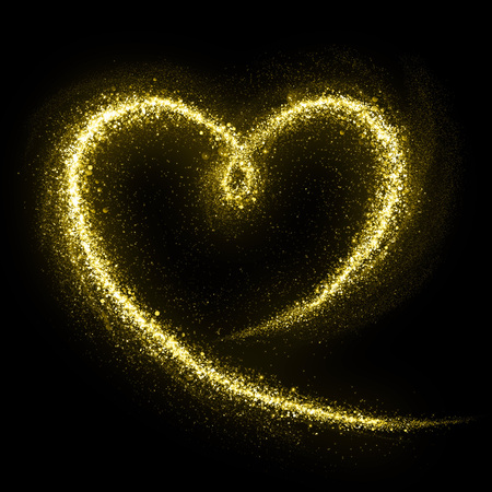 Photo pour Glittering heart gold cosmic dust tail. Twinkling glitter. - image libre de droit