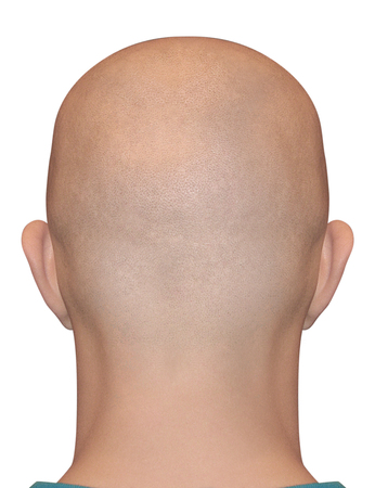 Photo pour Smooth shaved nape isolated on white background. Bald human male head. - image libre de droit
