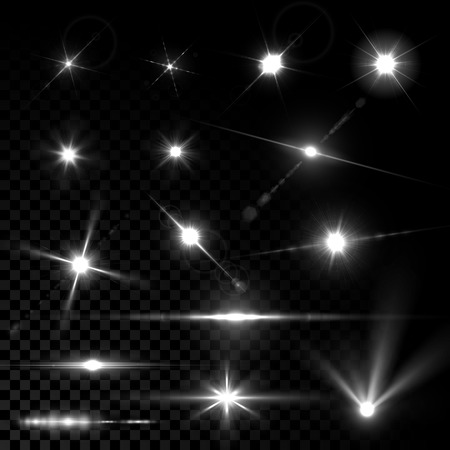 Illustration pour Realistic vector glowing lens flare light effect with stars and sparkles. - image libre de droit