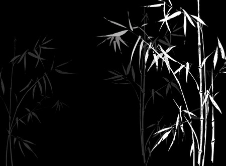 Illustration for White Bamboo branches imprint on black background. Japanese Chinese elements in asian ornament style. - Royalty Free Image