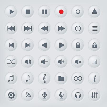 Illustration pour Media player control buttons collection. Polished metal buttons with music media symbols. - image libre de droit