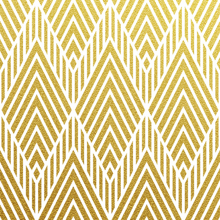 Illustration pour Geometric gold glittering seamless pattern on black background. - image libre de droit