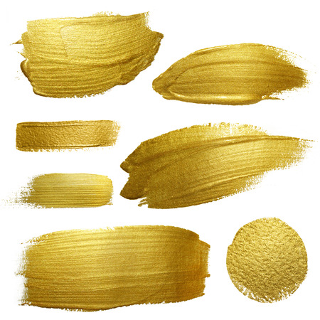 Photo pour Gold paint smear stroke stain set. Abstract gold glittering textured art illustration. Abstract gold glittering textured art illustration. - image libre de droit