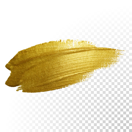 Illustration pour Vector gold paint brush stroke. Abstract gold glittering textured art illustration. - image libre de droit