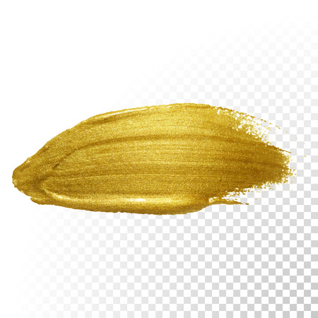 Ilustración de Vector gold paint brush stroke. Abstract gold glittering textured art illustration. - Imagen libre de derechos
