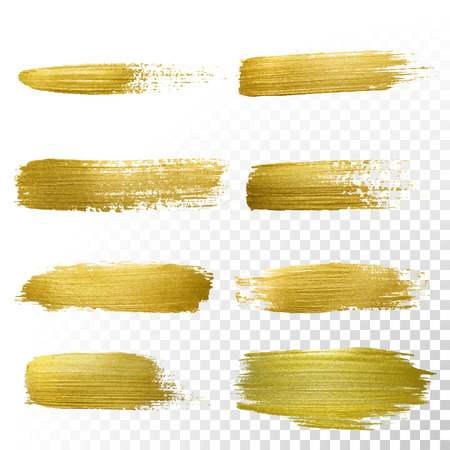 Illustration for Vector gold paint smear stroke stain set. Abstract gold glittering textured art illustration. Abstract gold glittering textured art illustration. - Royalty Free Image