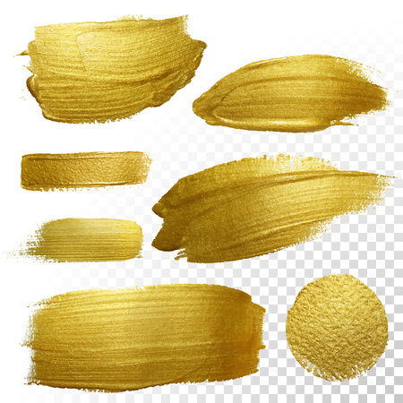 Foto de Vector gold paint smear stroke stain set. Abstract gold glittering textured art illustration. Abstract gold glittering textured art illustration. - Imagen libre de derechos