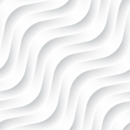 Illustrazione per White seamless texture. Wavy background. Interior wall decoration. 3D Vector interior wall panel pattern. Vector white background of abstract waves. - Immagini Royalty Free