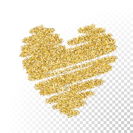 Illustration pour Vector gold glitter particles texture. Spray heart shape on transparent background. - image libre de droit