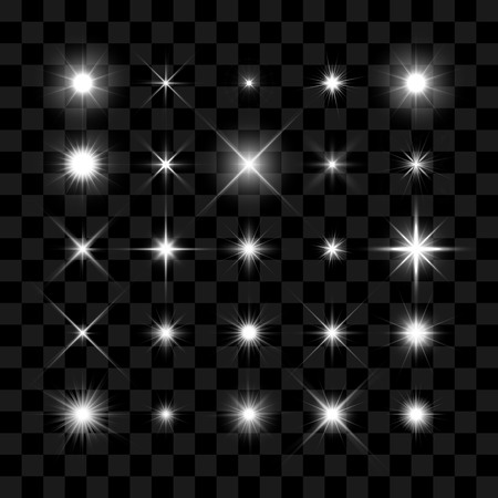 Illustration pour Starburst, stars and sparkles burst glowing light effect on transparent background. Transparent star. - image libre de droit
