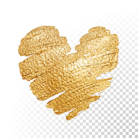 Ilustración de Vector gold paint heart on transparent background. Love concept design. - Imagen libre de derechos