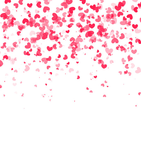 Illustration pour Vector falling red pink hearts on white transparent background. - image libre de droit