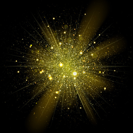 Illustration for Vector fashionable stars sparks in explosion. Glittering shining particles in starry ouburst in dark cosmic background - Royalty Free Image