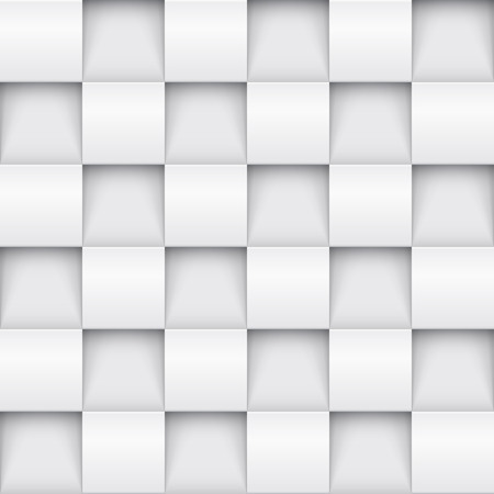 Illustration pour Vector white tile pattern panel background. Seamless geometric twisted design. 3D texture interior wall panel for graphic or website template layout. - image libre de droit